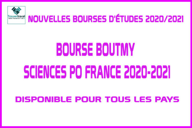 Bourse Boutmy Sciences Po France 2020-2021