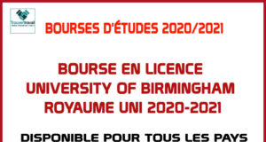Bourse En Licence University Of Birmingham Royaume Uni 2020-2021