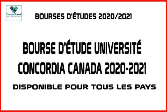 Bourse d'étude Premier Cycle Université Concordia Canada 2020-2021
