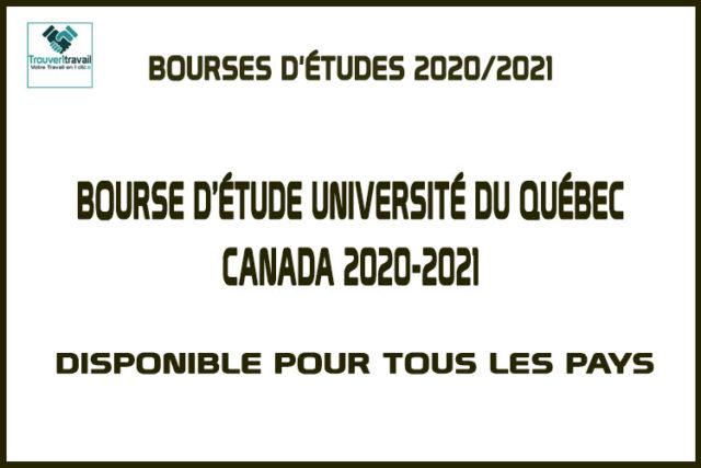Bourse D'étude Université Du Québec Canada 2020-2021