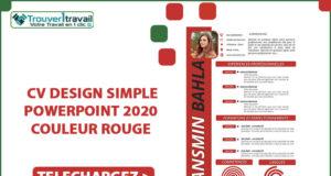 CV DESIGN SIMPLE POWERPOINT 2020 couleur ROUGE