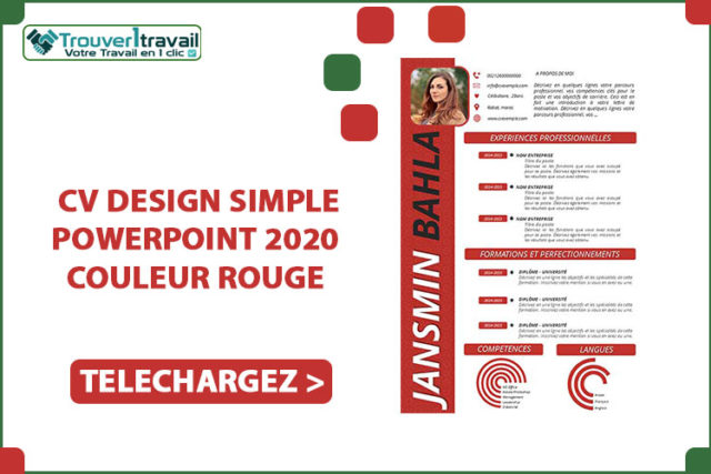 CV DESIGN SIMPLE POWERPOINT 2020 couleur ROUGE
