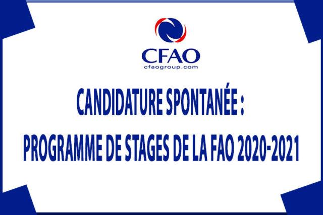 Candidature spontanée : Programme de Stages de la FAO 2020-2021