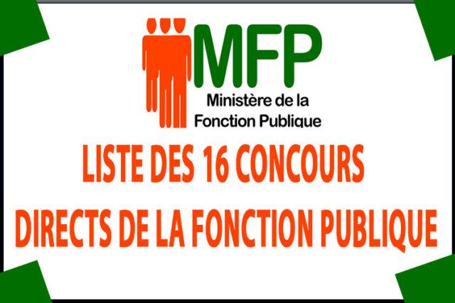 LISTE DES 16 CONCOURS DIRECTS DE LA FONCTION PUBLIQUE