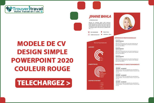 MODELE DE CV DESIGN SIMPLE POWERPOINT 2020 couleur ROUGE