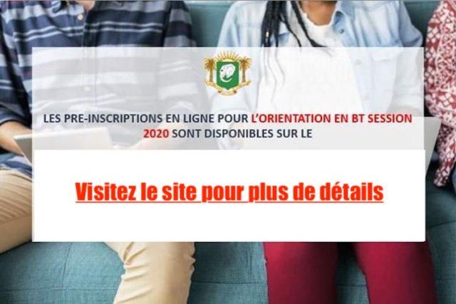 Côte d'Ivoire Orientation BT session 2020