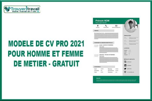 Modèle de CV PRO 2021 pour homme et femme de métier ...