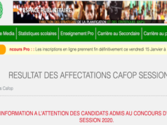 RESULTATS AFFECTATIONS CAFOP 2020