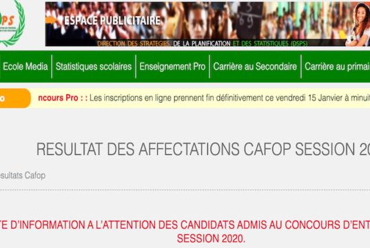RESULTATS AFFECTATIONS CAFOP 2020